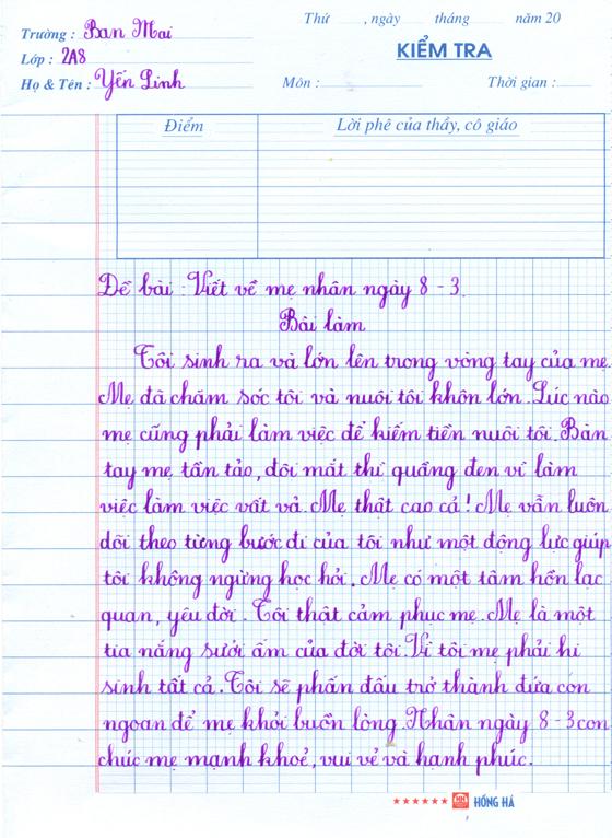 nhung cam nghi ve me nhan ngay 83 cua hoc sinh 10 - Những cảm nghĩ về mẹ nhân ngày 8/3 của học sinh